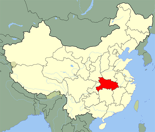 Map of China with Hubei Province highlighted in red